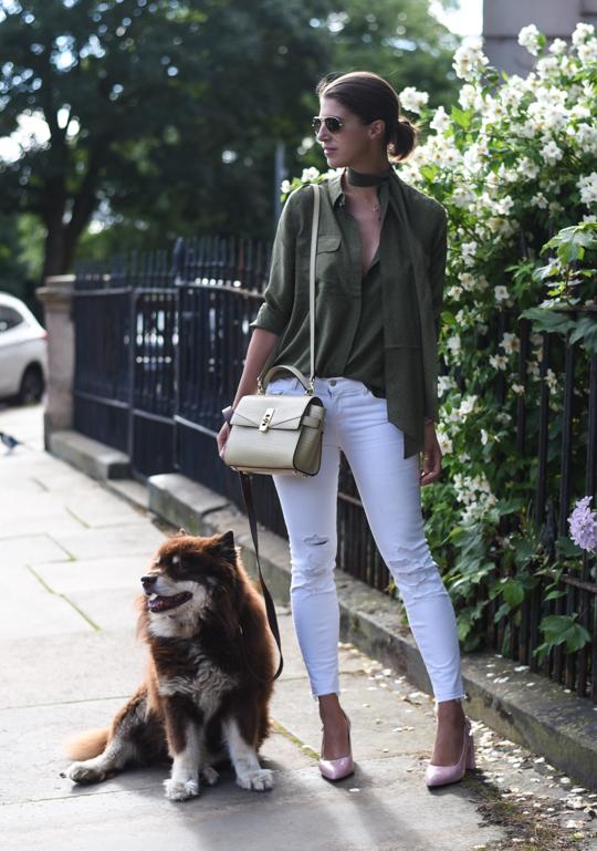 Boden khaki silk polkadot shirt - Thankfifi Scottish fashion blog-3