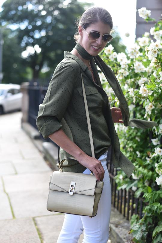 Boden khaki silk polkadot shirt - Thankfifi Scottish fashion blog-7