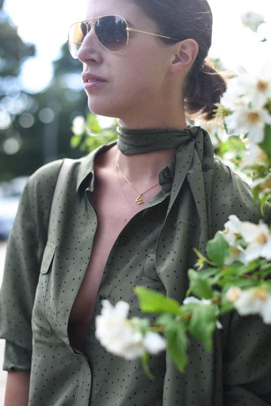Boden khaki silk polkadot shirt - Thankfifi Scottish fashion blog-8