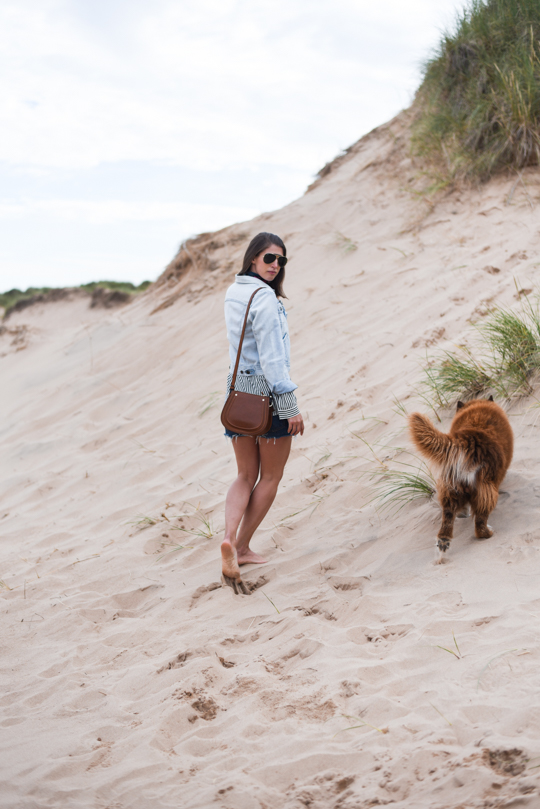 Balmedie beach in Joules Cicely blouse - Thankfifi Scottish travel blog