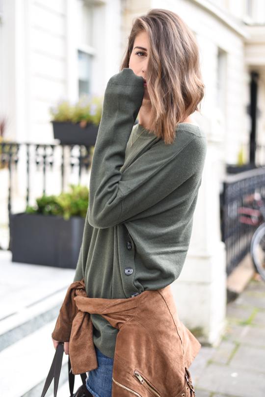 Boden khaki marsh Grace button jumper - Thankfifi Scottish fashion blog-2
