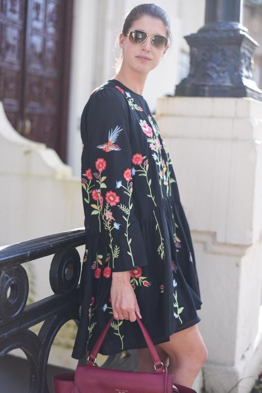 Zara embroidered floral black swing dress - Thankfifi Scottish fashion blog-10