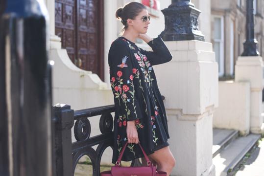 Zara embroidered floral black swing dress - Thankfifi Scottish fashion blog-11
