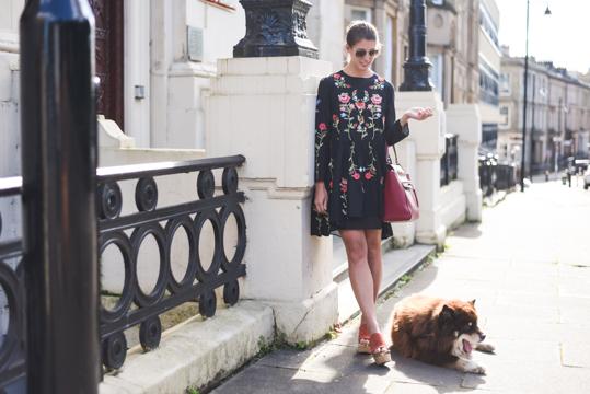 Zara embroidered floral black swing dress - Thankfifi Scottish fashion blog-5