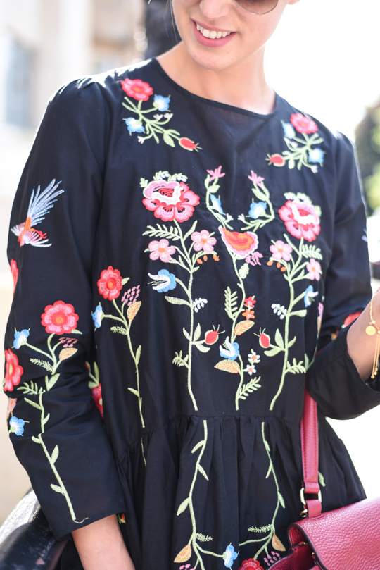 Zara Embroidered Floral Swing Dress Thankfifi