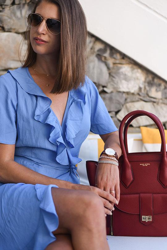 asos-blue-ruffle-wrap-dress-henri-bendel-rivington-tote-sestri-levante-thankfifi-scottish-travel-blog-4