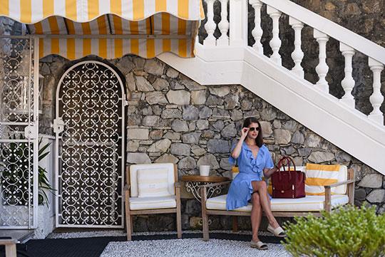 asos-blue-ruffle-wrap-dress-henri-bendel-rivington-tote-sestri-levante-thankfifi-scottish-travel-blog