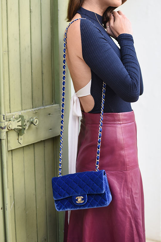 chateau-lhospitalet-chanel-blue-velvet-flap-bag-thankfifi-scottish-travel-blog-5