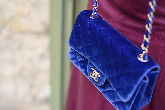chateau-lhospitalet-chanel-blue-velvet-flap-bag-thankfifi-scottish-travel-blog-8