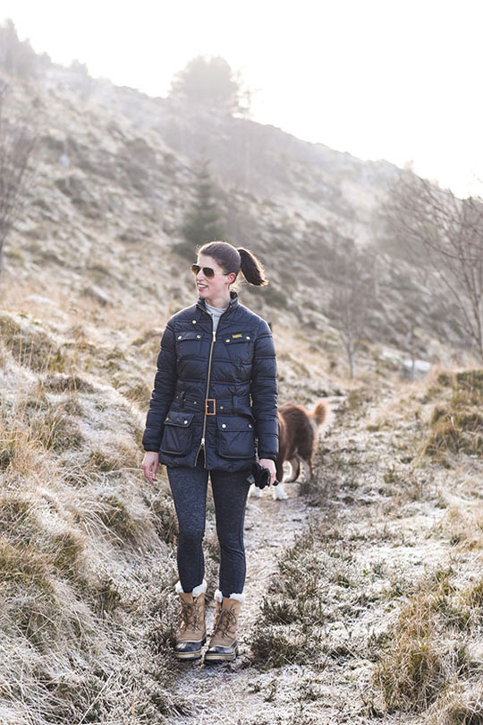 Barbour-International-padded-jacket-&-Sorel-Caribou-boots---Thankfifi-Scottish-travel-blog