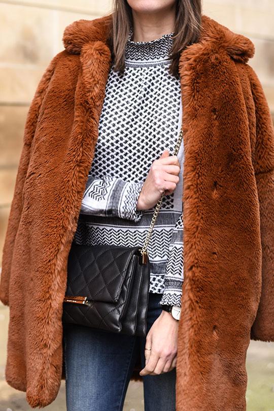 Cecilie-Copenhagen-scarf-blouse-&-Karen-Millen-teddy-fur-coat---Thankfifi-Scottish-fashion-blog-6