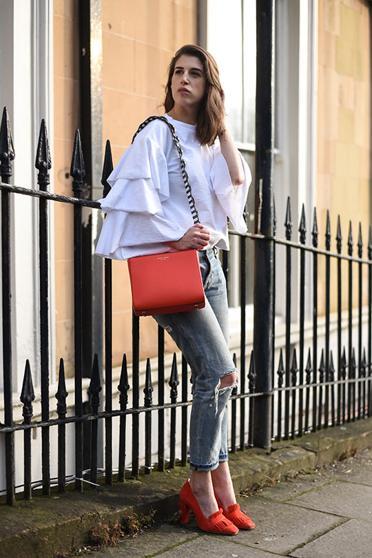 H&M-frill-sleeve-top-&-Henri-Bendel-red-west-57th-turnlock-satchel---Thankfifi-Scottish-fashion-blog-6